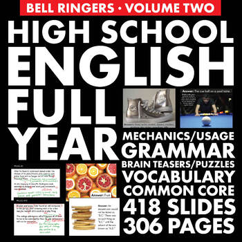 FULL YEAR of H.S. English Vol. 2 – Vocab., Grammar & Logic Puzzles/Brain Teasers