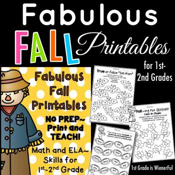 Fabulous Fall Printables for 1st-2nd Grade~ Math and ELA printables