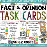 Fact and Opinion Task Cards with QR Codes and Game-Board