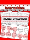 Factoring Quadratics Maze - 3 worksheets