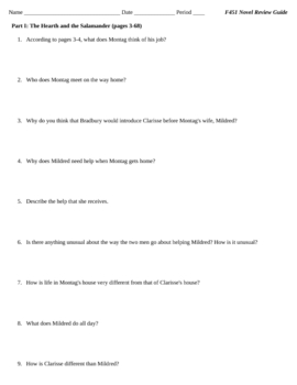 Fahrenheit 451 novel review question set