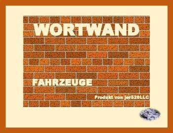 Fahrzeuge (vehicles in German) word wall