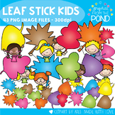 Fall / Autumn Leaf Stick Kids - Clipart for Teaching