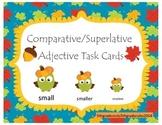 Fall Comparative and Superlative Adjective Task Cards