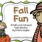 Fall Fun ~ 10 Multi-level Literacy & Math Activities