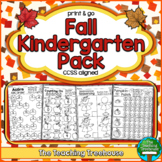 Fall Kindergarten Pack ~ Print & Go ~ CCSS Aligned