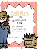 Fall Sentence Editing --Common Core Aligned