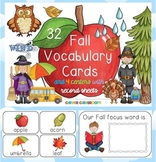 Fall Vocabulary Cards and 4 Reading Centers with Record Sheets