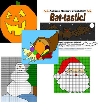 Fall Winter Ordered Pairs Pack Bundle Halloween Thanksgivi