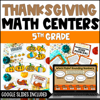 Fall and Thanksgiving Math Centers 4th and 5th Grade Common Core Aligned