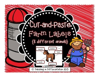 Farm Animal Labels {Cut and Paste 8 Different Animals}