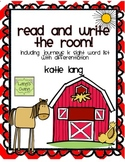Farm Unit Read and Write the Room Journeys Kindergarten Word List