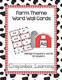 Farm Word Wall - Header and Word Cards - Editable File too!