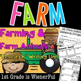 """Farm and Farm Animals """"Research"""" Writing Unit for K-2nd Grades"""