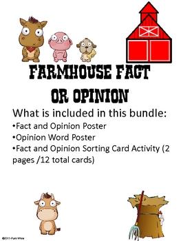 Farmhouse Fact or Opinion Freebie