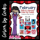 February Math & Literacy Color by Codes