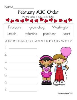 February Valentine ABC Order Fun