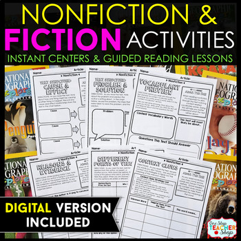 Fiction & Non-Fiction Activity Sheets BUNDLE } Literacy Centers & Guided Reading