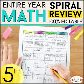 5th Grade Spiral Math Homework {Common Core} - ENTIRE YEAR!!! 100% Editable