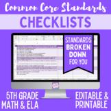 Common Core Checklist - Fifth Grade