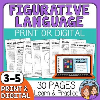 Figurative Language: Idioms, Similes, Metaphors, etc. CCSS Aligned +Answer Keys