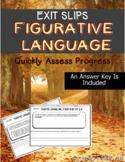 Figurative Language Common Core Exit Slips Grades 6 to 8th