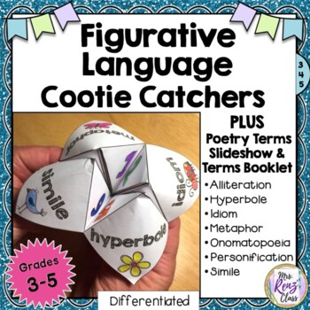 Figurative Language Cootie Catcher Set of 4 + PPT Slidesho