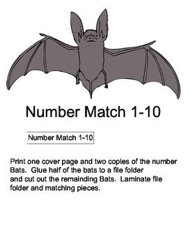 File Folder Game: Bat Number Matching