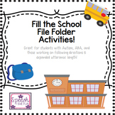 Fill The School File Folder (Great for students with Auti