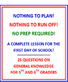 First Day of School 5th and 6th Grade (NO PREP) Fun Quiz w