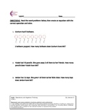 1.OA.1 Word Problem First Grade Common Core Math Worksheet