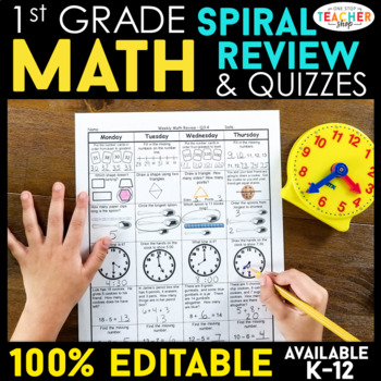 1st Grade Spiral Math Homework {Common Core} - ENTIRE YEAR!!! 100% Editable