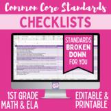 Common Core Standards Checklist - Editable (First Grade Ma