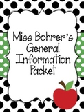 First Grade General Information Packet for Parents - Editable