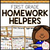 First Grade Homework Organization: Editable