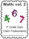 First Grade Math Exit Slips Volume 2