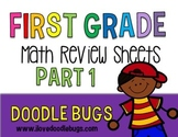 First Grade Math Review Sheets Part 1: number words, numbe