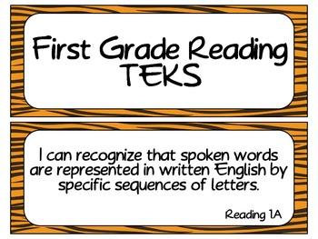 First Grade Reading TEKS~ Tiger
