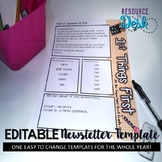"""Newsletter Template 1 First Grade -  """"First Things First S"""