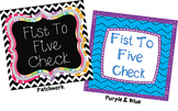 Fist to Five Comprehension Signals Chart (Purple&Blue)