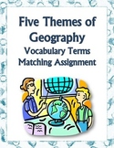 Five Themes, Geography - Vocabulary Match Assignment & 3 Puzzles