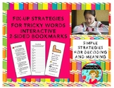 Fix-Up Strategies for Tricky Words Interactive Bookmark (2-sided)