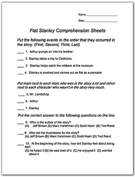 Flat Stanley Comprehension Worksheets