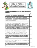 Following Directions Activity: How to Make a Crunchy Snowm