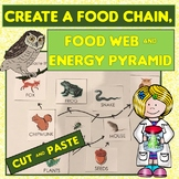Food Chain, Food Web, Energy Pyramid Cut and Paste