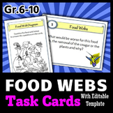 Food Webs - Task Cards {With Editable Template}