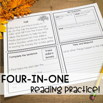 Four in One Reading Practice / Fall Back to School Theme
