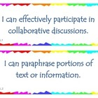 Fourth Grade Common Core I Can Statements - Speaking and L