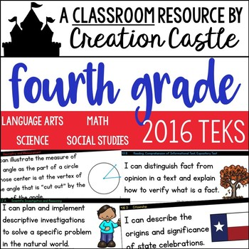 Fourth Grade TEKS Bundle - I Can... and We will... Standards Statements
