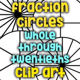 Free! Fraction Circle Black Lines/Clip Art